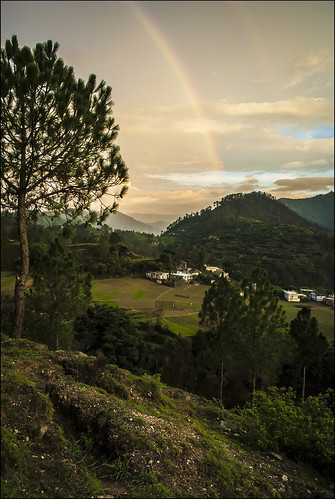 sunset nature beauty landscape evening rainbow twilight monsoon himalayas ranikhet kumaun