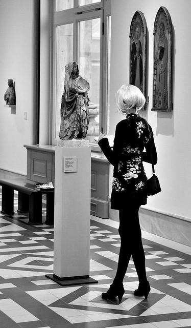 Girl drawing a sculpture