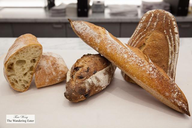 Ciabatta, raisin pecan bread, baguette and soudough