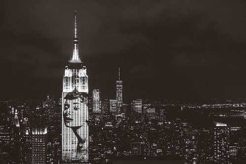Harper's Bazaar 150 Year Anniversary on Empire State Building - Audrey Hepburn