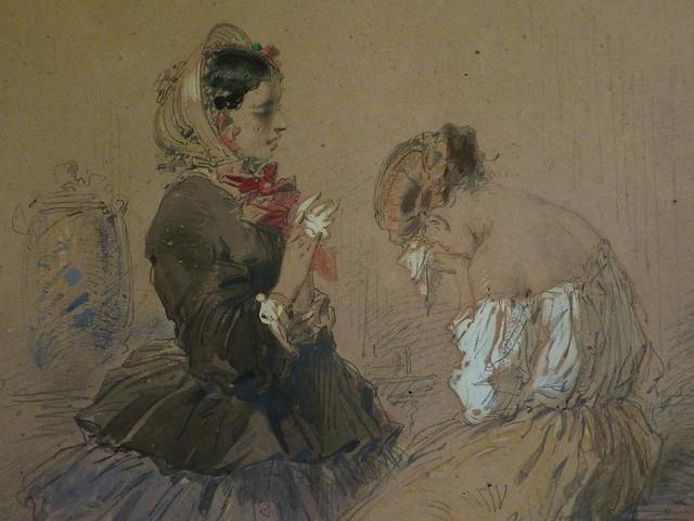 BEAUMONT (de) Charles Edouard - Jeune Femme assise et pleurant devant une autre jeune Femme debout (drawing, dessin, disegno-Louvre RF34484) - Detail 5