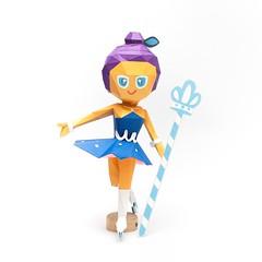 วิธีทำโมเดลกระดาษตุ้กตา คุกกี้รสราชินีสเก็ตลีลา จากเกมส์คุกกี้รัน (LINE Cookie Run Skating Queen Cookie Papercraft Model) 029