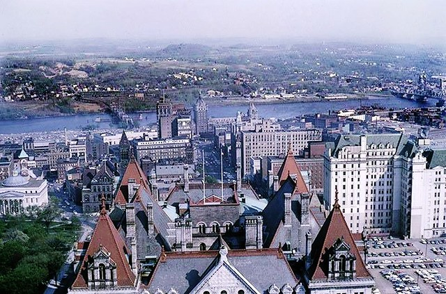 aerieal view of downtown albany ny from SmithBuilding. late 1960s