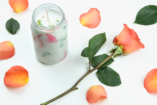 Candle with rose