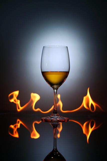 Glass on fire