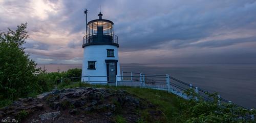 ocean lighthouse sunrise dawn maine newengland panoramic owlshead jclay