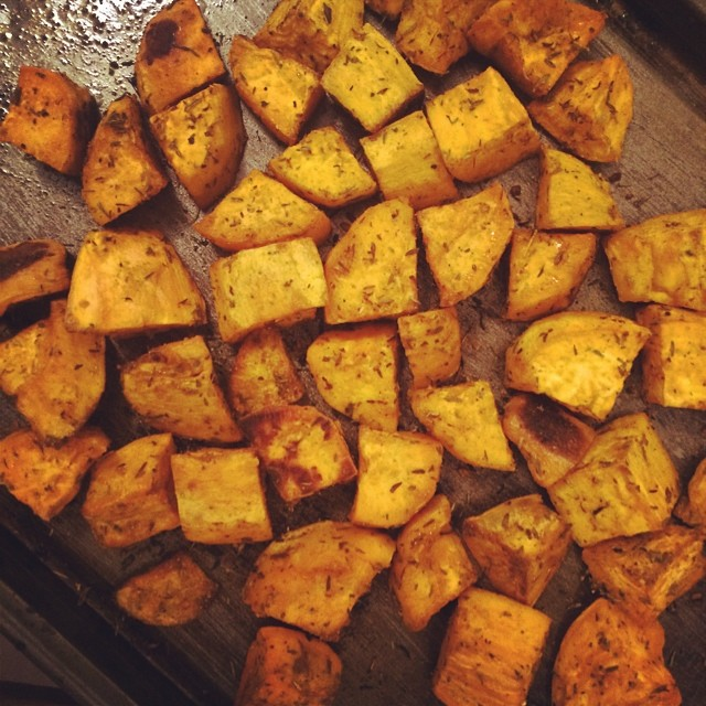 Getting my carbs ready for a few days. Baked sweet potatoe…   Flickr