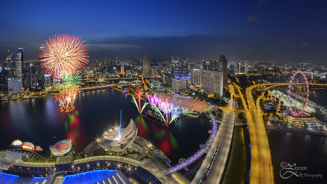 Singapore NDP 2014 Rehearsal Fireworks MBS Sky Park
