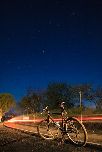 road night stars star trails mtb 50 btwin rockrider