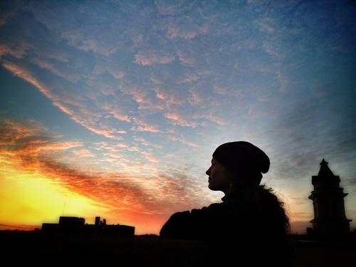 sunset ohio sky colors girl landscape evening cityscape terrace dusk athens clocktower courthouse ohiouniversity iphone athensoh ohiou appleiphone thechallengefactory iphone4s