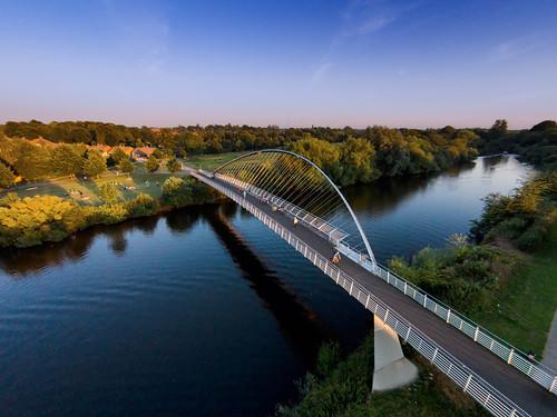 york uk sunset summer evening warm dusk millenniumbridge aerialphoto aerialphotography northyorkshire drone riverouse quadcopter markmullenphotography djiphantomvision djifc200camera rotorpixelgimbal