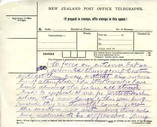 Waihi Strike Telegrams from Police Commissioner John Cullen, 9 November 1912 (4 of 5)