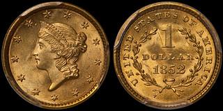 1852 $1.00 PCGS MS65+ CAC   by RareGoldCoins.com