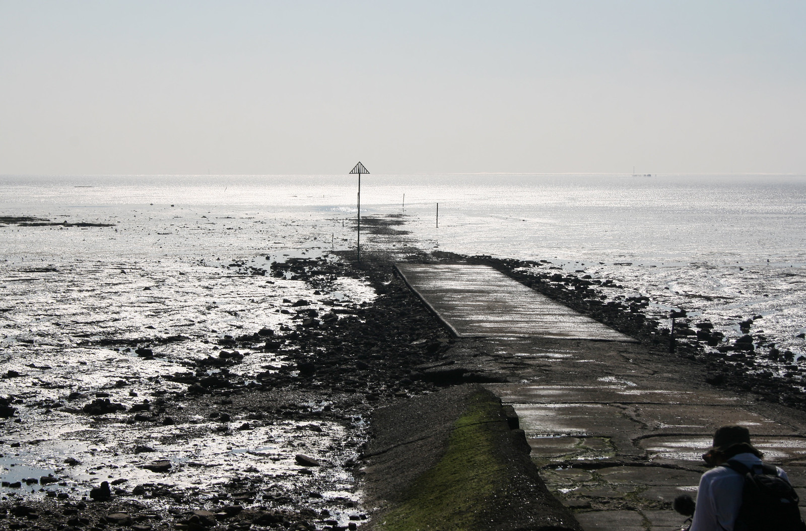 The Broomway at Wakering Stairs The start of the Broomway as it heads out onto Maplin Sands.