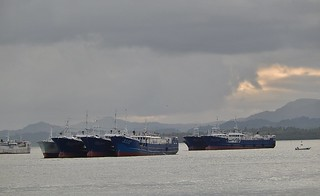 Bosts Moored in the Harbour at Dusk   by mikecogh