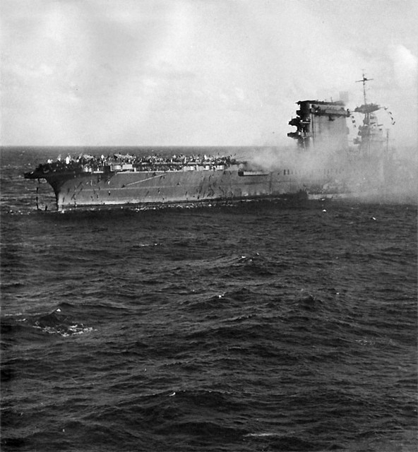 The crew of USS Lexington abandon ship