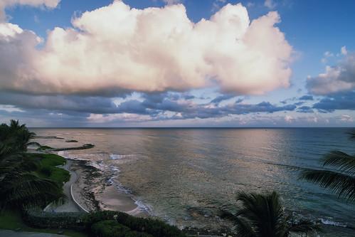 ocean morning sea beach skyline clouds sunrise hotel seaside nikon day cloudy path horizon palm journey jamaica atlanticocean d90 fromhotelroom tokina1116 ritzcarltonmontegobay