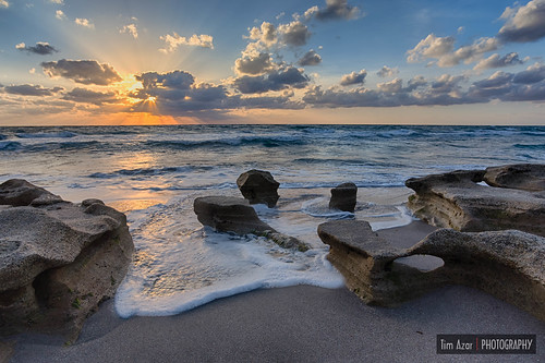 ocean sunset sky orange usa sun sunlight beach water colors yellow rock clouds america sunrise landscape coast sand rocks waves florida cloudy tide shoreline rocky shore jupiter hdr hightide carlinpark canon6d timazar