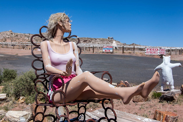 Mannequin sunning at Stewart's Petrified Wood Shop