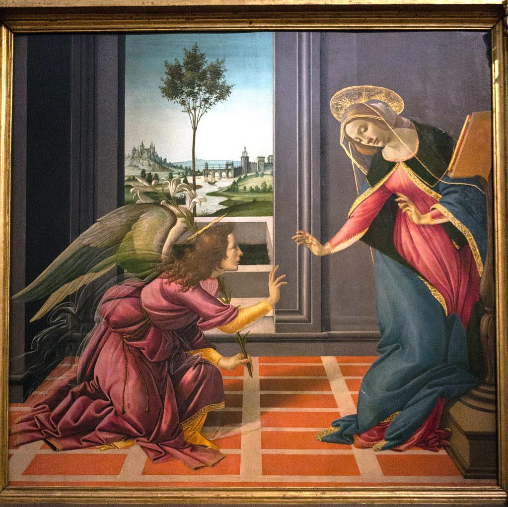 Image result for annunciation botticelli uffizi