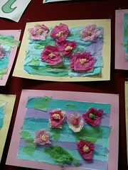 Lilies in a pond using tissue paper