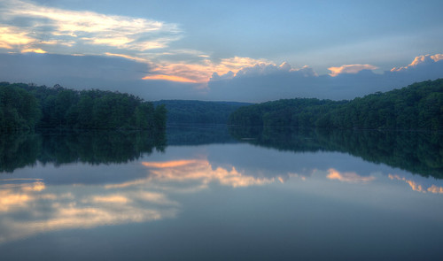 sunset reflection water clouds mirror reservoir tranquil