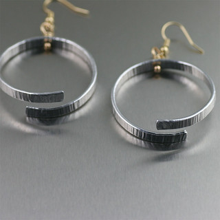 Chased Aluminum Hoop Earrings - Detail | by johnsbrana