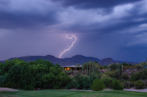 sunset arizona storm landscape evening az lightning cavecreek