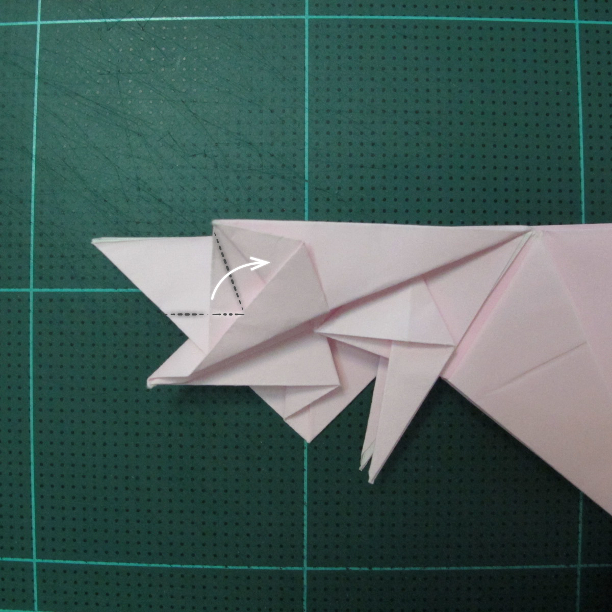 การพับกระดาษเป็นไดโนเสาร์ทีเร็กซ์ (Origami Tyrannosaurus Rex) 030