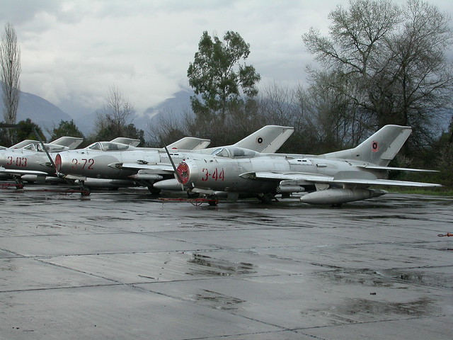 Line of Shenyang F-6/MiG-19S's being; 3-44 c/n 3404,  3-72 c/n 7912 and MiG-19S 3-03 c/n 1303.  Ex Albanian-AF. (Stored Tirana-Rinas, 14-03-2013)
