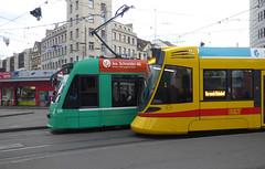 Basel, Aeschenplatz, Stadler Tango Tram & Siemens Combino