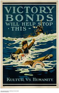 Victory Bonds Will Help Stop This—Kultur vs Humanity / Souscrire à l'Emprunt de la Victoire, c'est mettre fin à la piraterie