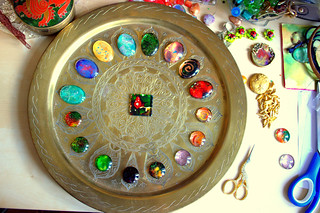 Hand painted cabochons made by me
