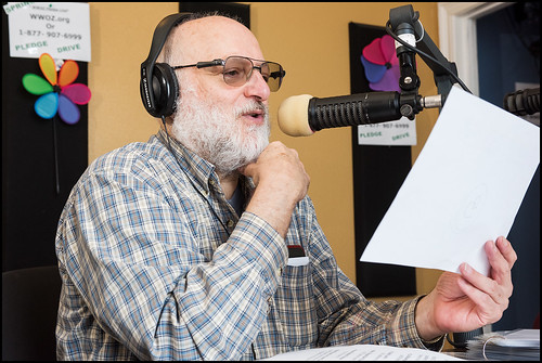 Arthur Cohen on air during Day 1 of the WWOZ Spring Pledge Drive. Photo by Ryan Hodgson-Rigsbee www.rhrphoto.com
