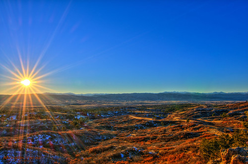 co colorado sunset winter danielspark castlerock castlepines douglas county hdr potomatix sun star burst rocky mountians front range
