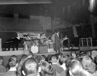 Unidentified band performing at the Edmonton Gardens, Alberta