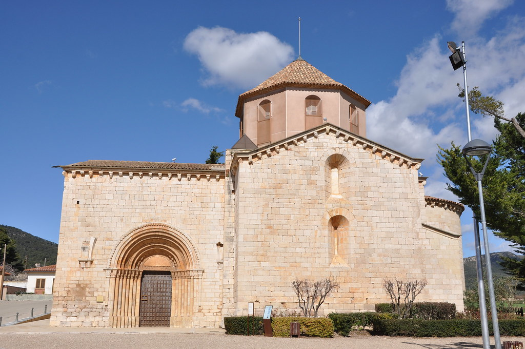 El Pla de Santa Maria. Church of St. Ramon. 12th-13th C. (light tower above the transept added in the 18th. C.)