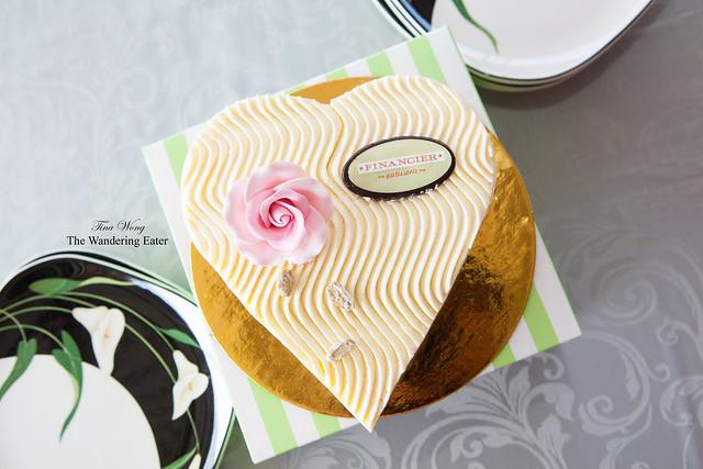 Large heart-shaped Fraisier cake with flower