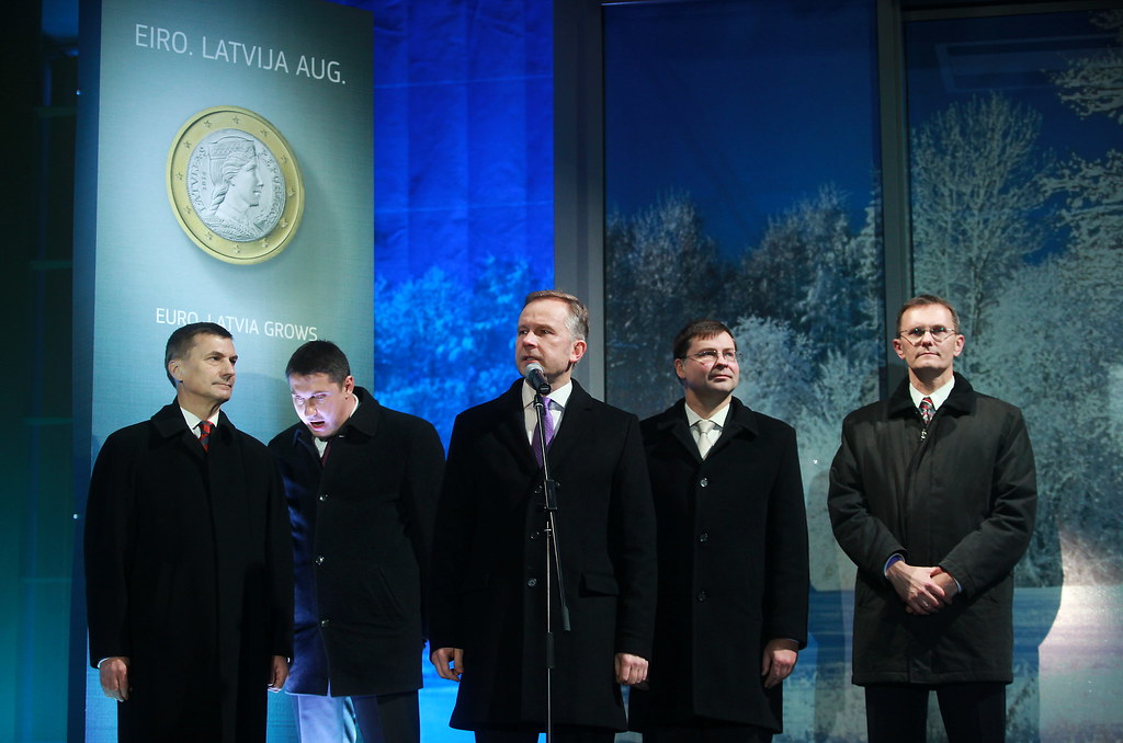 Symbolic withdrawal of the first euro banknotes in Latvia