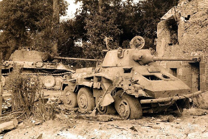A destroyed SdKfz 234 'Puma'