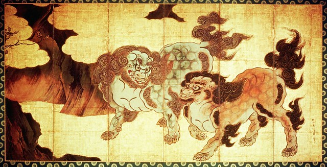 Kano Eitoku (1543-1590) - Chinese Lions (Museum of the Imperial Collections, Tokyo, Japan)