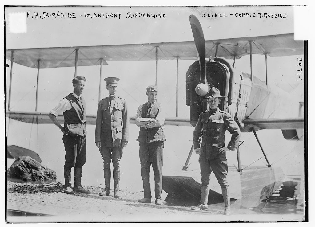 F.H. Burnside, Lt. Anthony Sunderland, J.D. Hill, Corp. C.T. Robbins (LOC)
