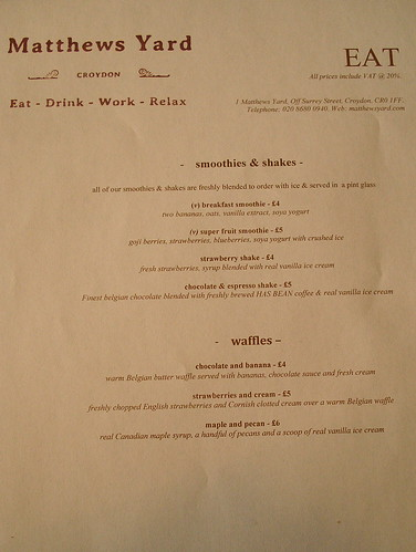 Menu (July 2014) at Matthews Yard, Croydon, London CR0 | by Kake .