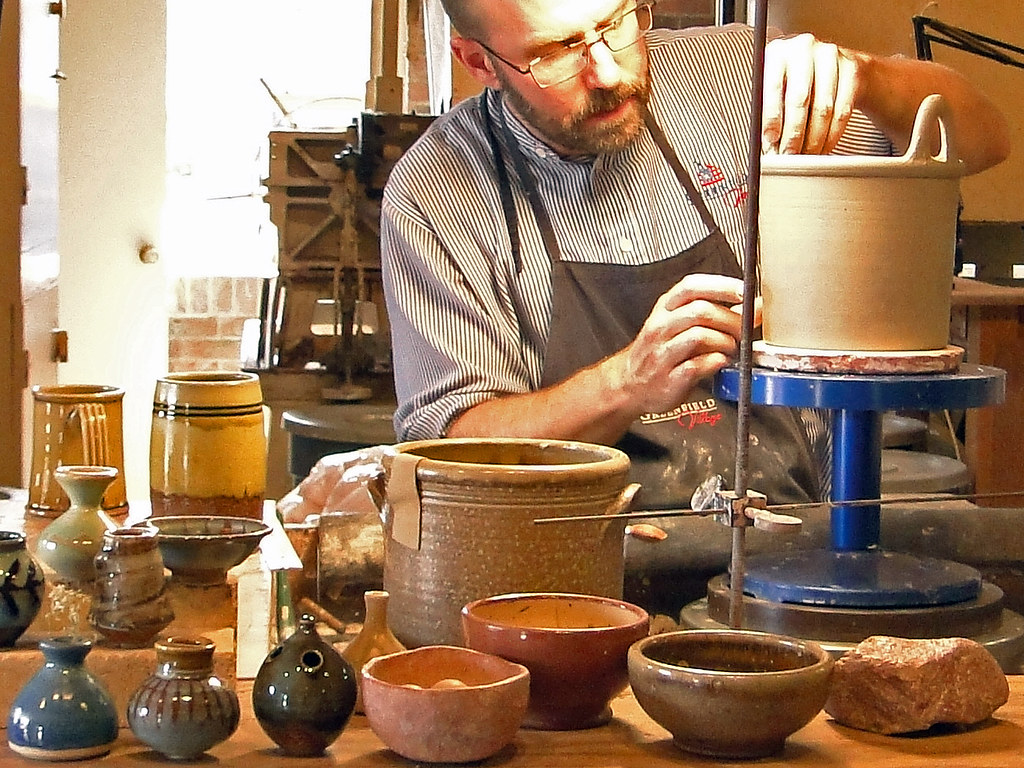 Greenfield Village Potters | He's demonstrating the craft of… | Flickr