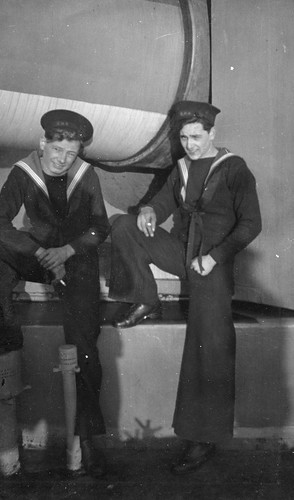 Bob Burns on right, and mate beside the BL 14 inch Mk VII Guns  on HMS  Anson 1941