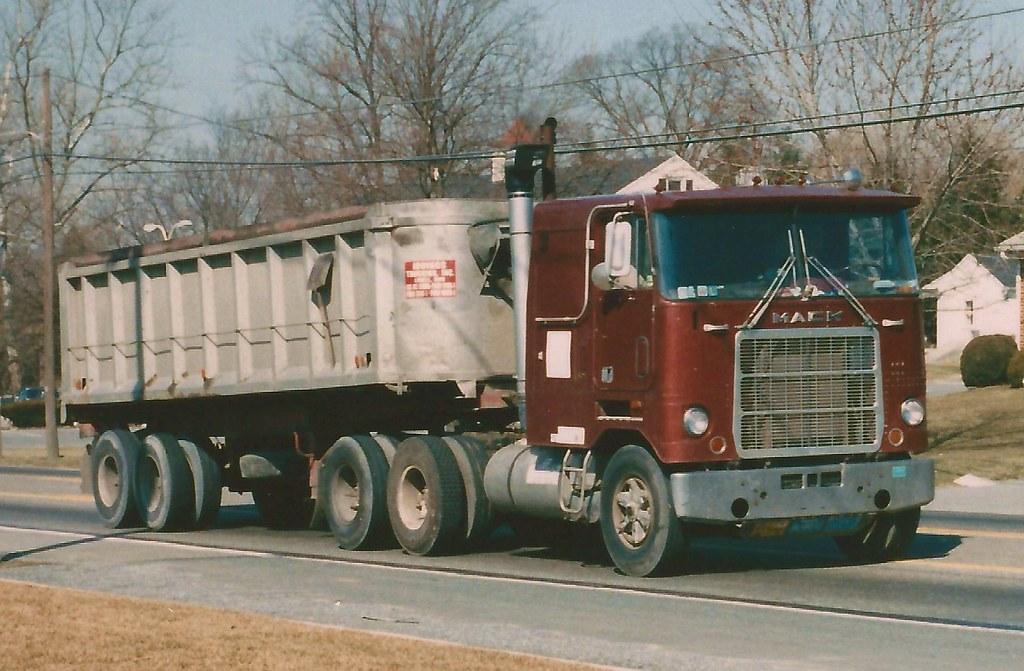 Mack Cruiseliner, dump trailer   Winter, 1988 shot, E of ...