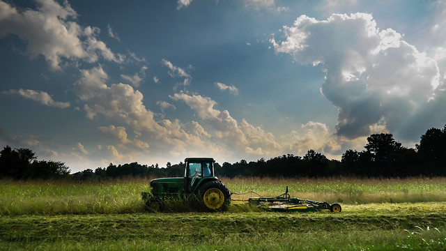 Tractor, Field, and Sky