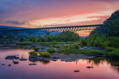 bridge trees sunrise virginia rocks unitedstates harpersferry potomacriver purcellville