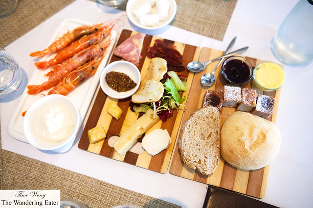 Trio of plates - Boiled large prawns, charcuterie and cheese, and pastries board