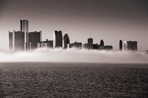 november urban sun water fog skyline mi buildings river landscape outside downtown autum detroit bluesky detroitriver ciity cityscpe renisaincecenter